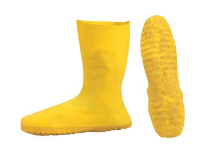 Picture of Yellow Latex Shoe Covers - Textured Slip Resistant Outsole