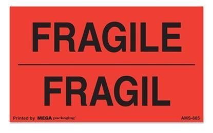 Picture of Fragile - Fragil Printed Labels