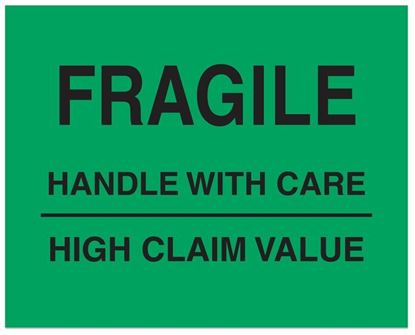 Picture of Fragile Handle With Care High Claim Value - Printed Labels