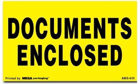 Picture of Documents Enclosed - Yellow