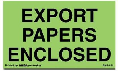 Picture of Export Papers Enclosed - Green Printed Labels