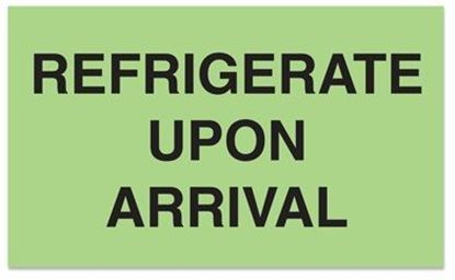 Picture of Refrigerate Upon Arrival - Green Printed Label 2 x 3