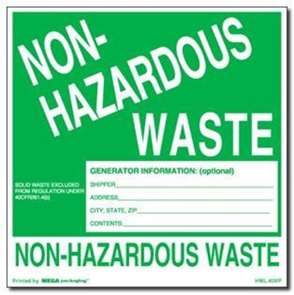 Picture of Non Hazardous Waste - Green and White Printed Label 6 x 6
