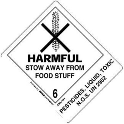 Picture of Harmful Stow Away From Food Stuff - Pesticides Printed Label 4 x 4-7/8