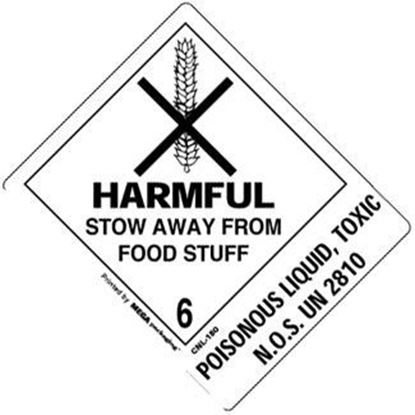 Picture of Harmful Stow Away From Food Stuff - Poisonous Liquid Printed Label 4 x 4-7/8