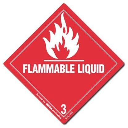 Picture of Flammable Liquid 3 - Red Printed Label 4 x 4