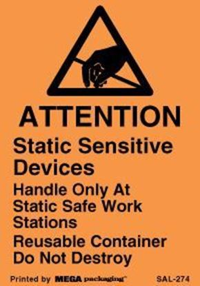 Picture of Attention Static Sensitive Devices - Orange - Removable Adhesive