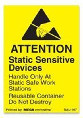 Picture of Attention Static Sensitive Devices - Yellow 1-3/4 x 2-12