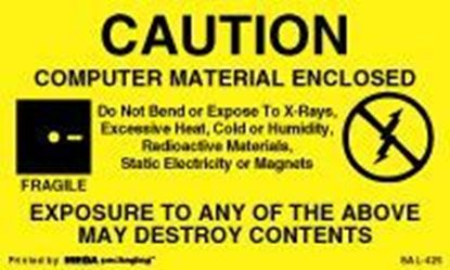 Picture of Caution Computer Material Enclosed 5 x 3