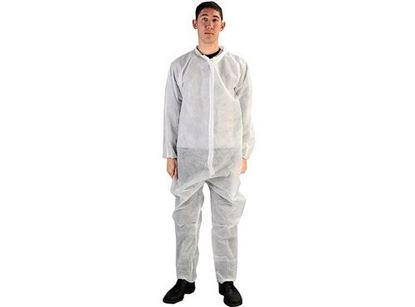 Picture of White Polypropylene Coveralls - Velcro Front
